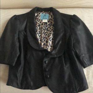Leather Short Sleeve Blazer